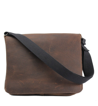 "The Original 14"" Chocolate Grizzly Messenger Bag Made in the U.S.A. -  14-MES-CHO-GZ-LAP"