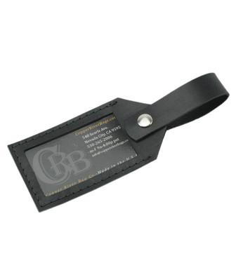 Latigo Leather Luggage Tag - Black - Made in the U.S.A. - LAT-LUG-TAG-BL