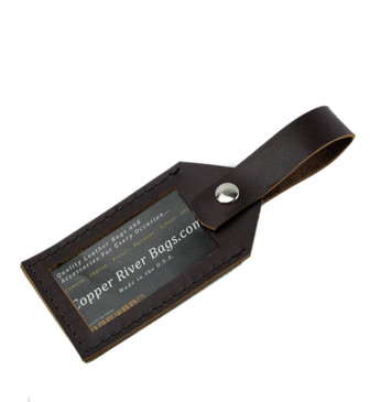 Latigo Leather Luggage Tag - Coffee Brown- Made in the U.S.A. - LUG-TAG-COFEXL