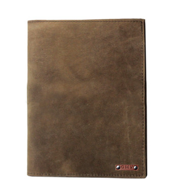 Large Classic Padfolio in Distressed Tan Leather Made in the U.S.A. - LG-CLSC-DIS-PDFOL