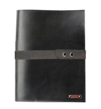 Executive Padfolio in Black Leather with Grizzly Strap Made in the U.S.A. - EX-BLK-GZST-PDF