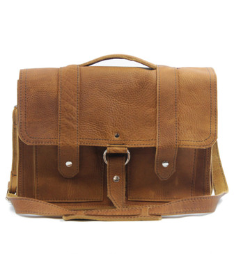 """17"""" X-Large Classic Alpine Briefcase in Tan Grizzly Leather"""