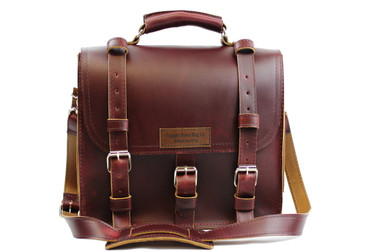 12 inch Lincoln Classic Leather Satchel Briefcase Burgundy Red - Made in the U.S.A. - 12-LIN-CLS-BRF-BUR-EXL