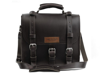 12 inch Lincoln Classic Leather Satchel Black Excel - Made in the U.S.A. - 12-LIN-CLS-BRF-BL-EXL