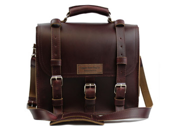 "12"" Small Lincoln Classic Satchel in Coffee Brown Leather / Lined with Suede"