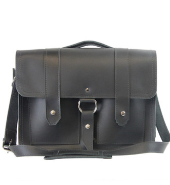 """15"""" Large Executive Alpine Classic Briefcase Made in Black Leather / Lined With Suede"""