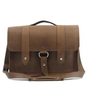 "Executive 15"" Classic Alpine Briefcase in Brown Leather / Lined With Suede"