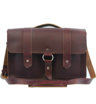 "Executive 15"" Classic Alpine Leather Briefcase in Burgundy Red Leather / Lined With Suede"