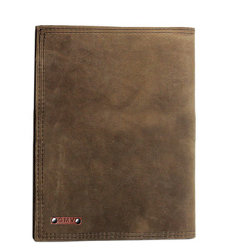 Left handed Classic Padfolio in Distressed Tan Leather
