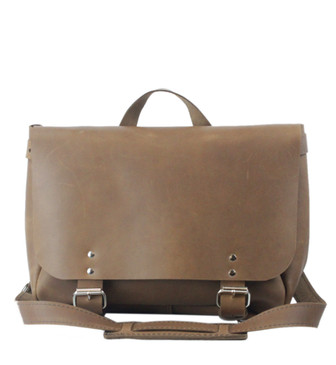 """14"""" Medium Lewis & Clark Courier Mail Bag in Brown Leather"""