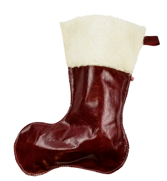 Christmas Stockings in Italian Red Leather With Wool Top