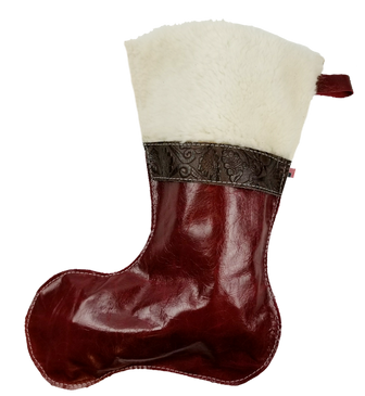 Christmas Stockings in Italian Red Leather With Wool Top and Brown Paisley Accent