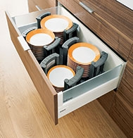 Blum Orga-Line Crockery Holder & Drawer storage | kitchen storage ideas | drawer accessories