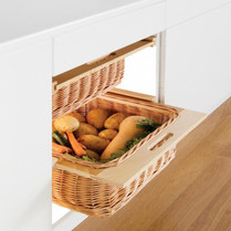 Beech Framed Wicker Baskets (Pair)