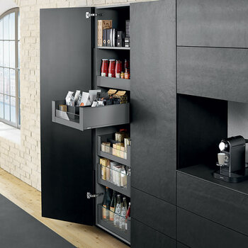Blum larder drawers legrabox for Tall kitchen drawer unit