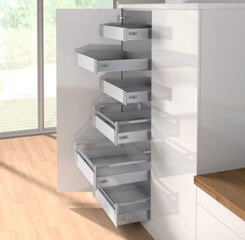 Hettich larder drawers atira clutterfree kitchens for Tall kitchen drawer unit