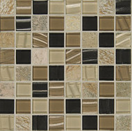 "Bedrosians Elume Glass & Slate Blended Boardwalk 1 1/8"" Mosaic"