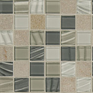 "Bedrosians Elume Glass & Slate Blended Heather Grey 1 1/8"" Mosaic"