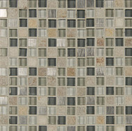 "Bedrosians Elume Glass & Slate Blended Heather Grey 5/8"" Mosaic"