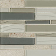 Bedrosians Elume Glass & Slate Blended Heather Grey Linear Mosaic
