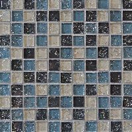 "Bedrosians Tilecrest Ice Crackle Gray Mosaic 1"" x 1"""
