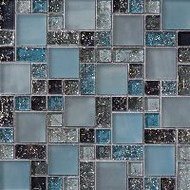 Bedrosians Tilecrest Ice Crackle Blue Mosaic Pattern
