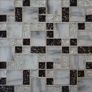 Bedrosians Tilecrest Ice Crackle Black Mosaic Pattern