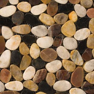Emser Tile Rivera Pebbles Flat Pebble 4 Color Blend (Black, Cream, Gold, Terracotta)