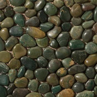 "Emser Tile Rivera Pebbles Pebble Green 12"" x 12"" Round Mosaic"
