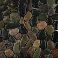 "Emser Tile Rivera Pebbles Pebble Natural Blend 12"" x 12"" Round Mosaic"