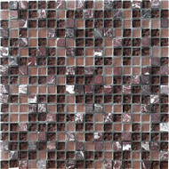 "Marazzi Crystal Stone 12"" x 12"" Glass/Stone Mosaic Purple"