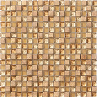"Marazzi Crystal Stone 12"" x 12"" Glass/Stone Mosaic Honey"
