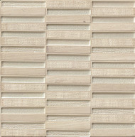 """Bedrosians Tilecrest Tessuto Glass/Stone Blend Silver 1/2"""" x 4"""" Staggered Joint TESSILSTB"""