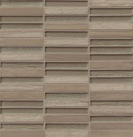 """Bedrosians Tilecrest Tessuto Glass/Stone Blend Taupe 1/2"""" x 4"""" Staggered Joint"""