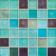 "Hirsch Glass Blended Ice Blue Eyes 1"" x 1"" Mosaic"