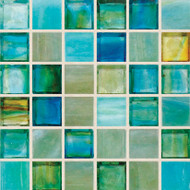 "Hirsch Glass Blended Ice Fantasy 1"" x 1"" Mosaic"
