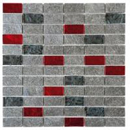 "Bati Orient Quartzite Silver Grey 1"" x 2"" Natural Glass Red Black QUMI12"