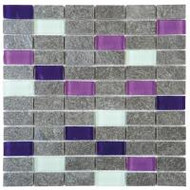 "Bati Orient Quartzite Silver Grey 1"" x 2"" Polished Glass Purple White QUMI13"