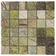 "Bati Orient Decorative Mosaics Forest Green 2"" x 2"" Polished Marble"