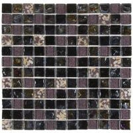 "Bati Orient Decorative Mosaics Black/Grey Glass/Shell 7/8"" x 7/8"" Marble With Decors"