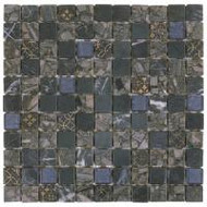 "Bati Orient Decorative Mosaics Grey/Blue Glass 1"" x 1"" Marble With Glass Decors"
