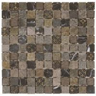 "Bati Orient Decorative Mosaics Mix/Beige Glass 1"" x 1"" Marble With Glass Decors"