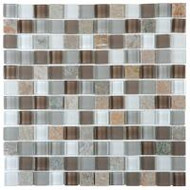 "Bati Orient Decorative Mosaics Quartzite / Glass Beige/ White 7/8"" x 7/8"" Glass And Steel"
