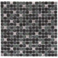 "Bati Orient Decorative Mosaics Mix Steel/Glass Dark Grey 5/8"" x 5/8"" Glass And Steel"