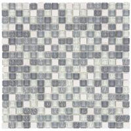 "Bati Orient Decorative Mosaics White/Grey Glass 5/8"" x 5/8"" Marble And Glass"