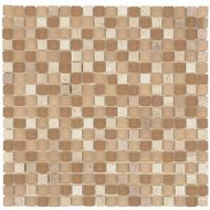 "Bati Orient Decorative Mosaics Beige/Beige Glass 5/8"" x 5/8"" Marble And Frosted Glass"