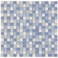 "Bati Orient Decorative Mosaics White/Blue Glass 5/8"" x 5/8"" Marble And Frosted Glass"