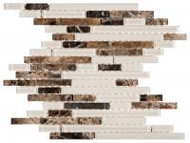 "Bati Orient Decorative Mosaics Brown/Beige Glass 12"" x 12"" Baguette"