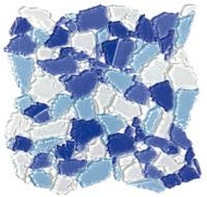 "Bati Orient Decorative Mosaics Blue/Light Blue/White 12"" x 12"" Glass Mosaic"