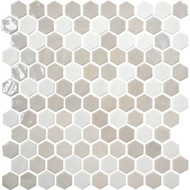 Daltile Uptown Glass Hex Wall Alabaster Mosaic